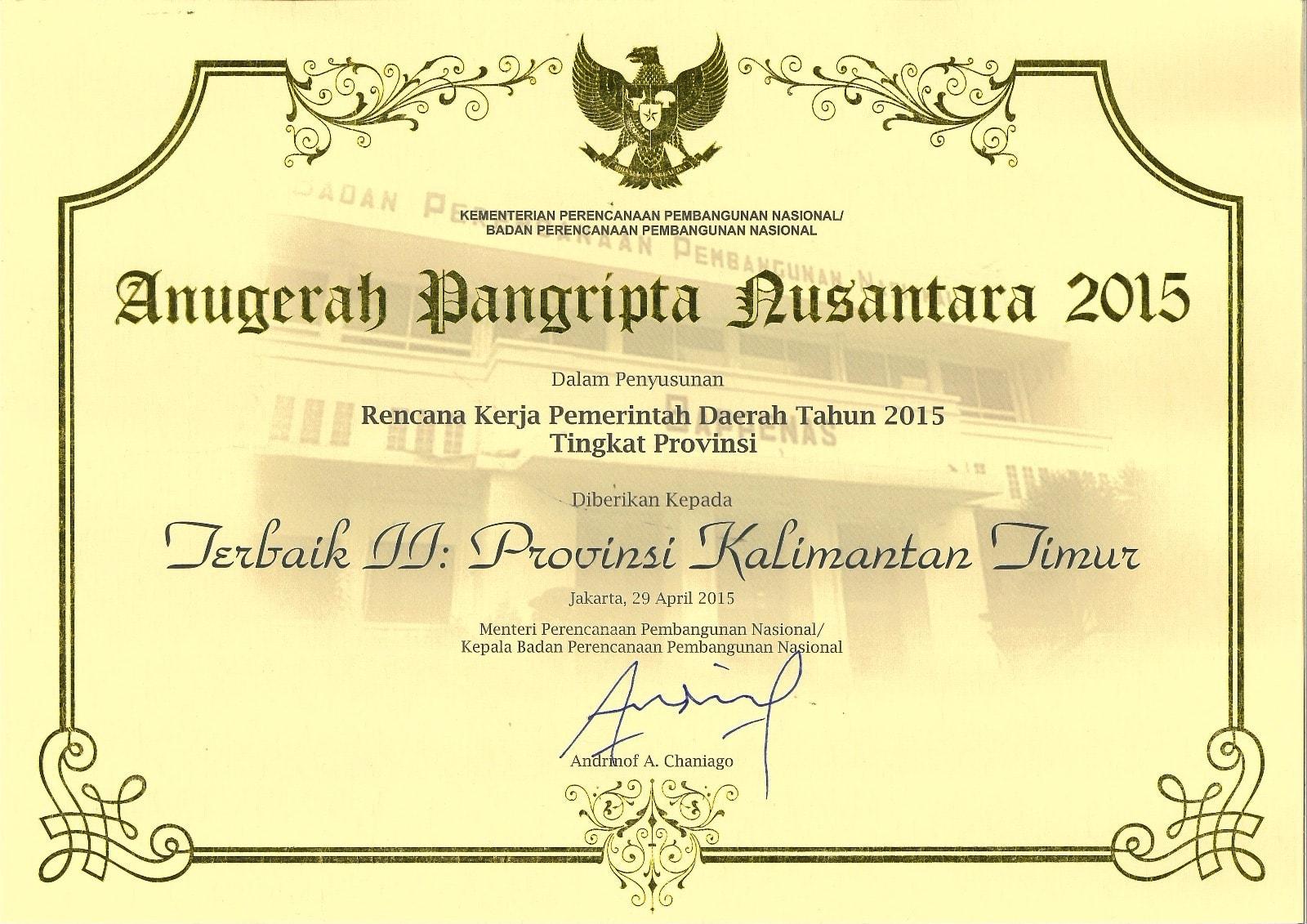 Terbaik II  Tingkat Provinsi se Indonesia Anugerah Pangripta Nusantara 2015