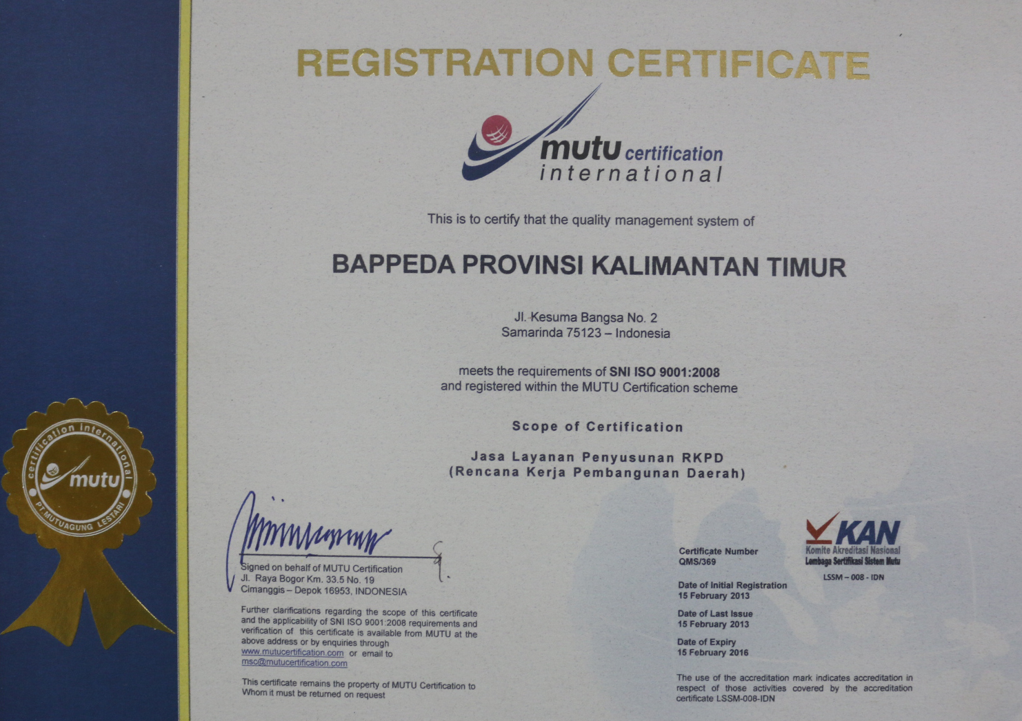 Bappeda Kaltim terima Sertifikat ISO 9001 2008