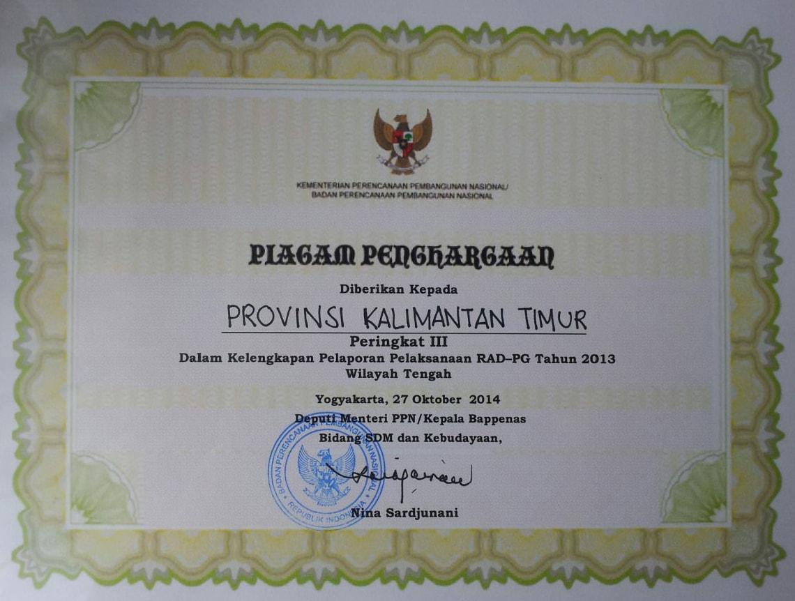 Terbaik IIi Wilayah Tengah dlm Kelengkapan Pelaporan RAD-PG Tahun 2013