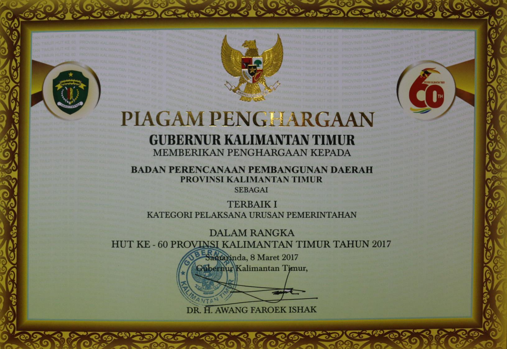 Terbaik I Pelaksana Urusan Pemerintahan dlm rangka HUT Kaltim ke 60 th 2017