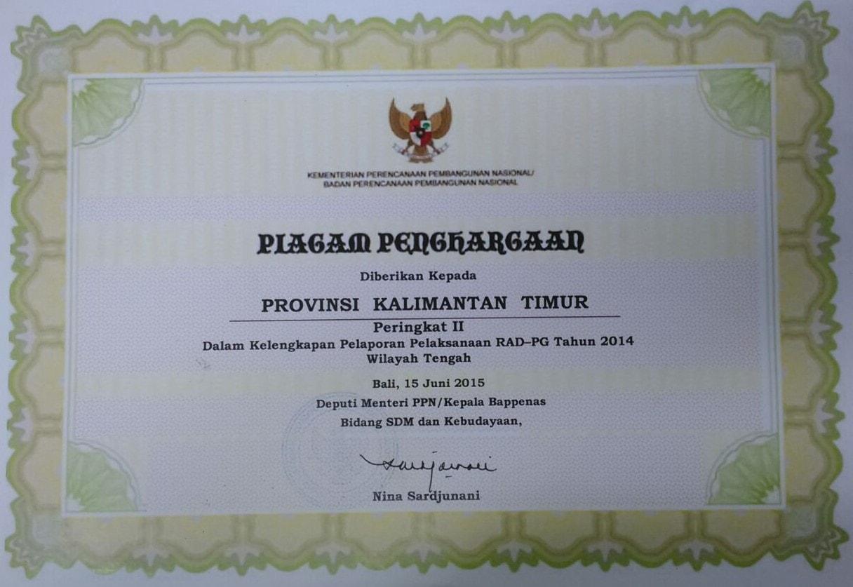 Terbaik II Wilayah Tengah dlm Kelengkapan Pelaporan RAD-PG Tahun 2014